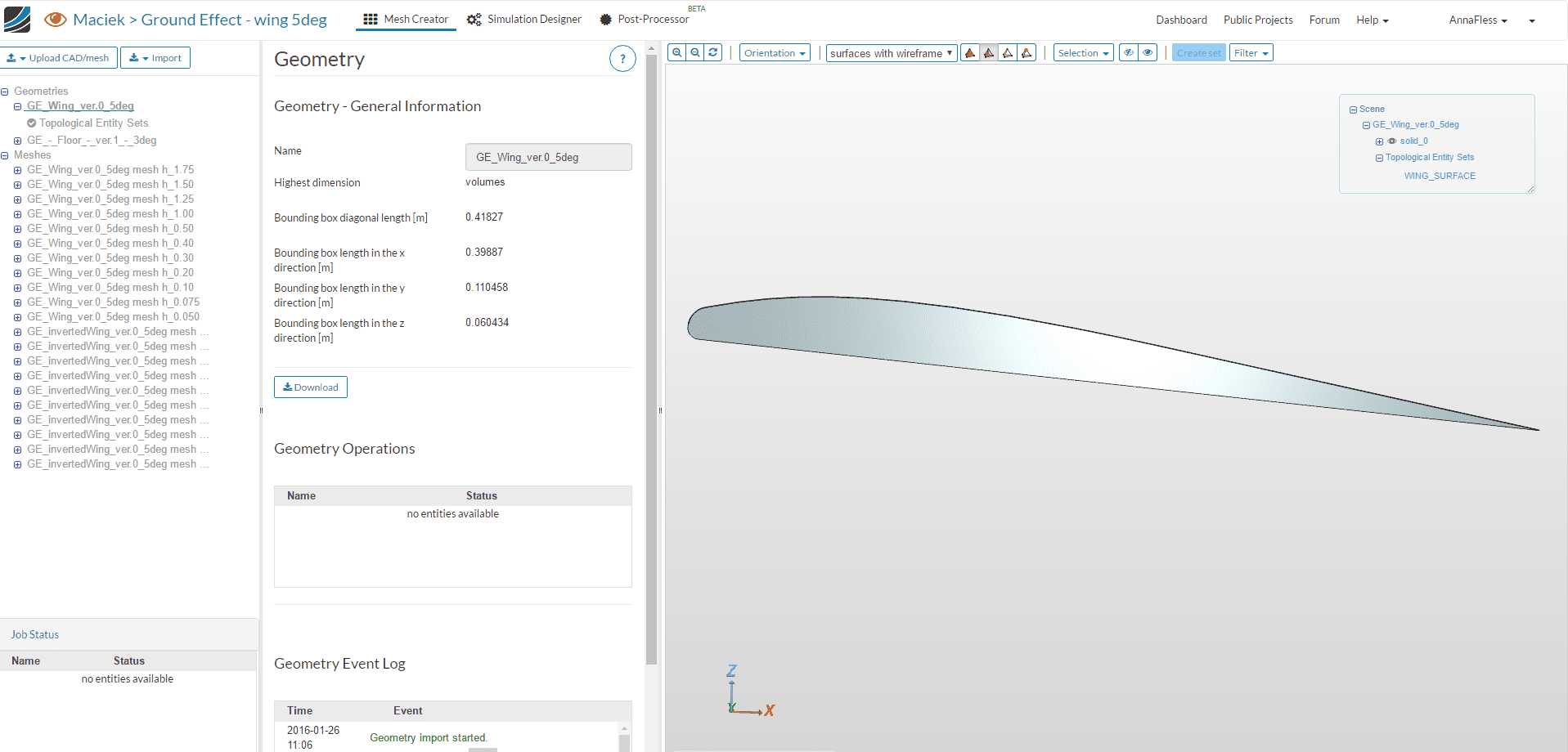 ground effect aircraft airfoil wing cad model