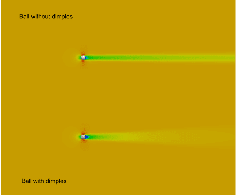 golf ball dimples aerodynamics simulation - comparing the balls with and without dimples