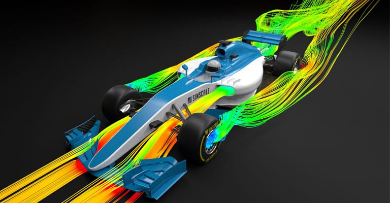 Results of an aerodynamics analysis of an F1 car carried out in a web browser with SimScale