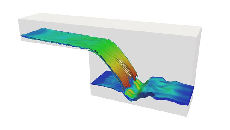 multiphase flow simulation of a waterfall