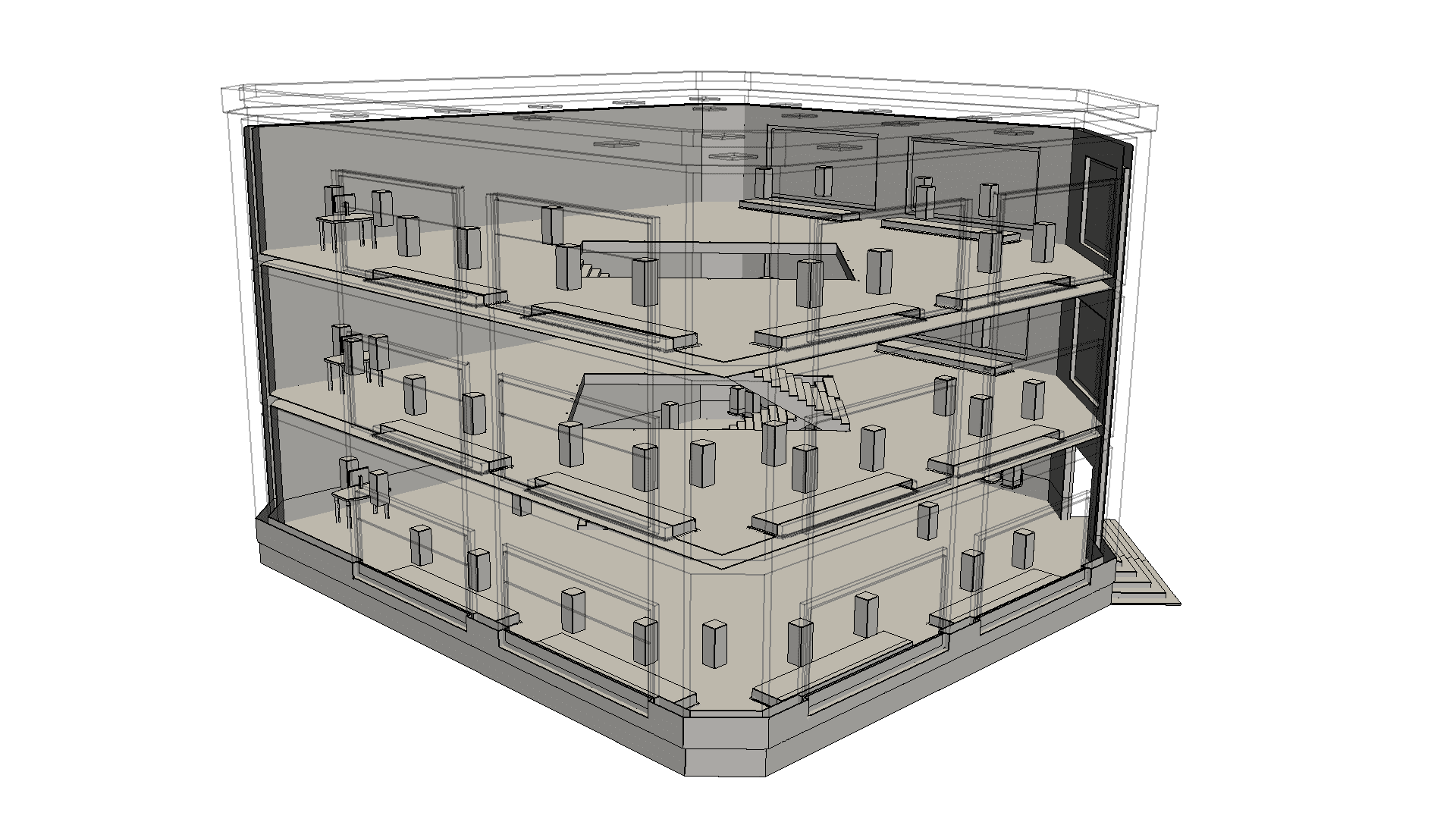 Shopping mall CAD model, commercial building design