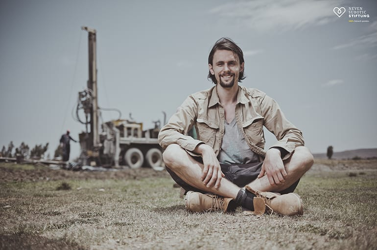 Neven Subotic on site at a water well drilling project in Ethiopia