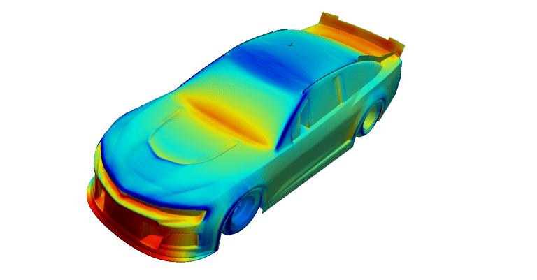 total pressure coefficient race car, CFD analysis