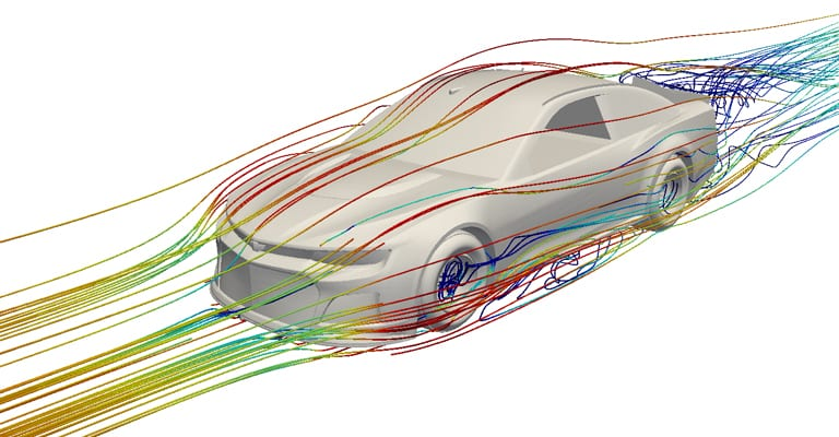 CFD analyis of a race car for NASCAR, streamlines