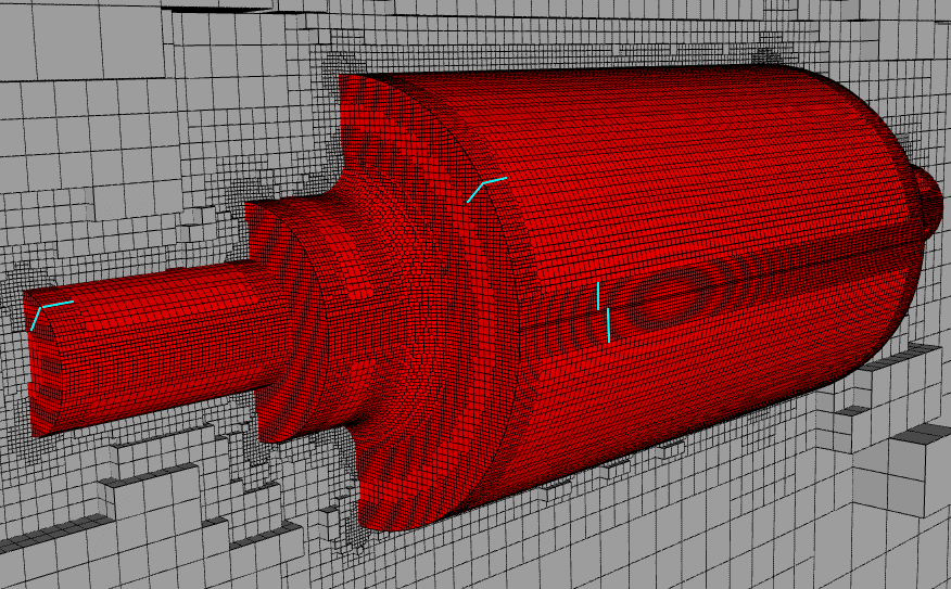 example result for a mesh with feature refinements