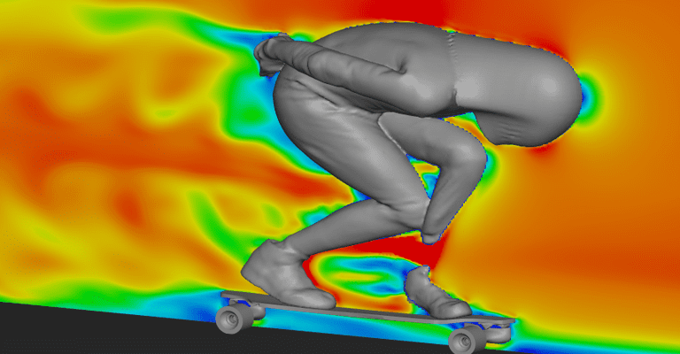 Velocity plot of Pete and his board, CFD simulation carried out with SimScale