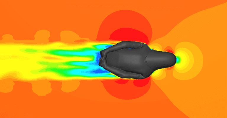 Velocity plot from waist level from Pete's body position, CFD analysis with SimScale