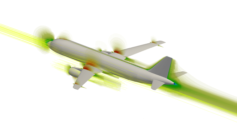 CFD simulation of airflow around a commercial airplane. Source: SimScale