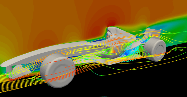 Simulation of airflow around a complex F1 vehicle