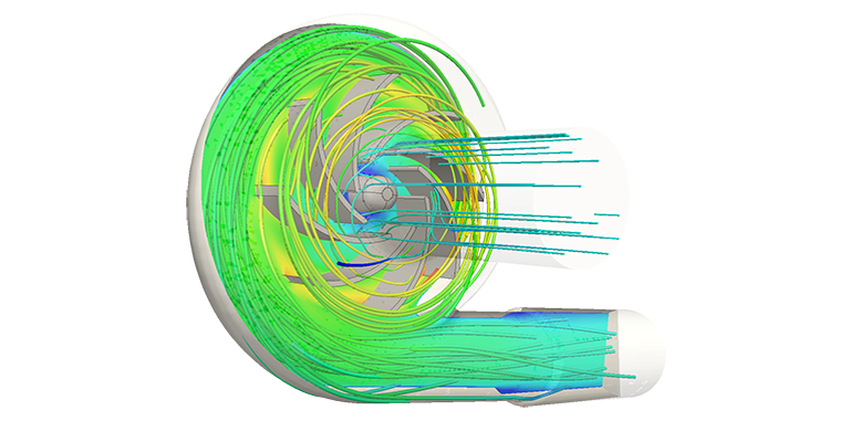Fluid flow analysis show water move around the impeller pump blades of a centrifugal pump