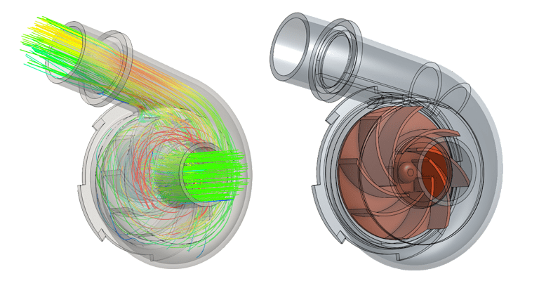 Centrifugal pump CFD analysis with impeller pump component inside