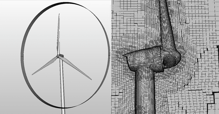 wind turbine simulator cad and mesh preparation image made with simscale