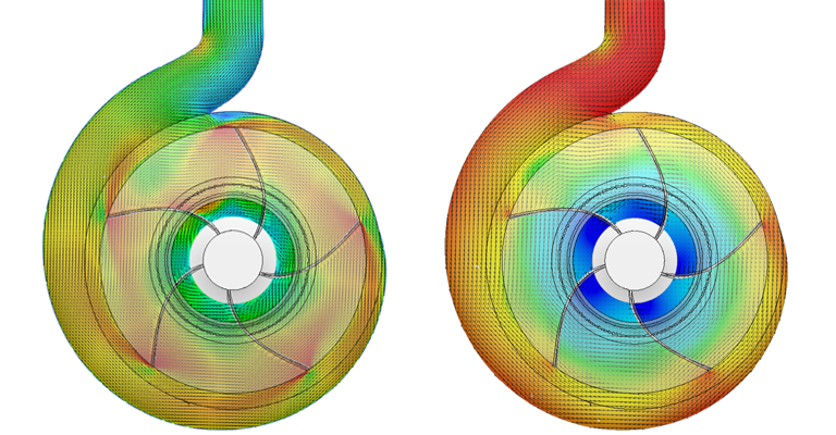 CFD analysis of turbomachinery pump design show high and low pressure