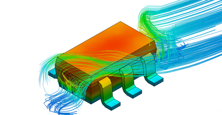 Surface temperatures and velocity streamlines on a detailed model