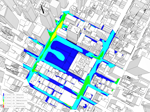 Wind analysis using Lawson Comfort Criteria without trees, modeled in the park