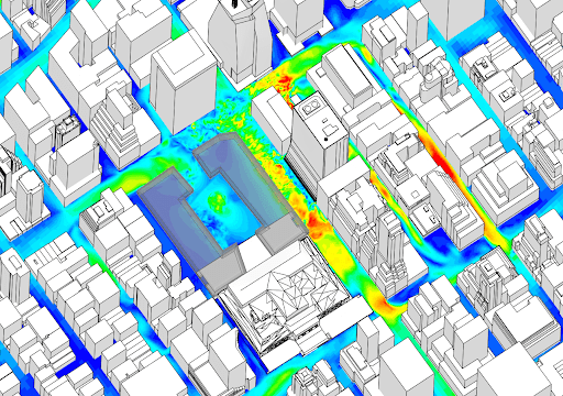 South-South West wind at pedestrian level, with trees modeled in the park