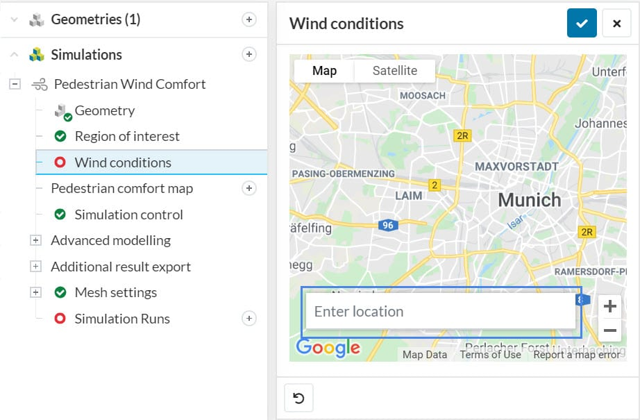 wind condition dialog box in simscale for pedestrian wind comfort simulation