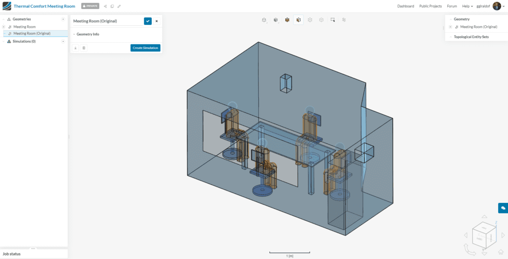imported project in the simscale workbench for thermal comfort assessment
