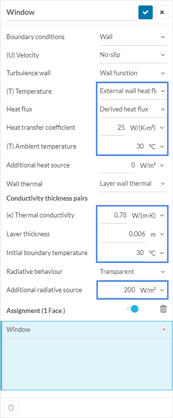 window boundary condition for thermal comfort assessment