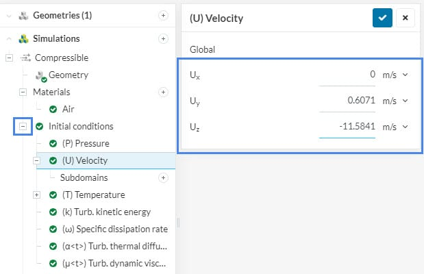 initial conditions for velocity field