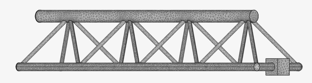 mesh of a crane using the standard meshing algorithm in simscale which contains 225.4k nodes
