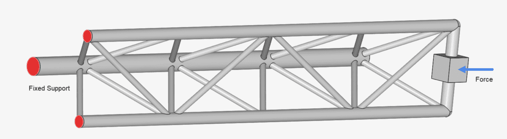 boundary conditions that are used for linear static simulation on a crane