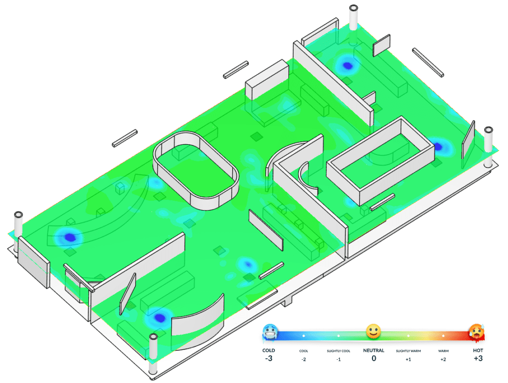 PMV contour plot at 1.5m height across the exhibition hall, testing the thermal environment