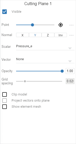 cutting plane settings to visualize pressure at the highest building