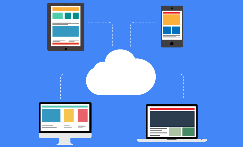 cloud migration shown through different cloud tools on different devices all accessible to the cloud