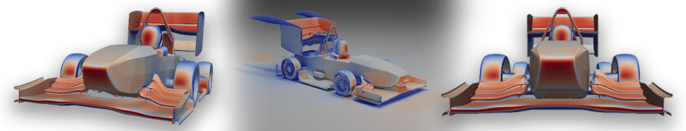 different angles of pressure coefficient and pressure isosurface visualizations of the vehicle