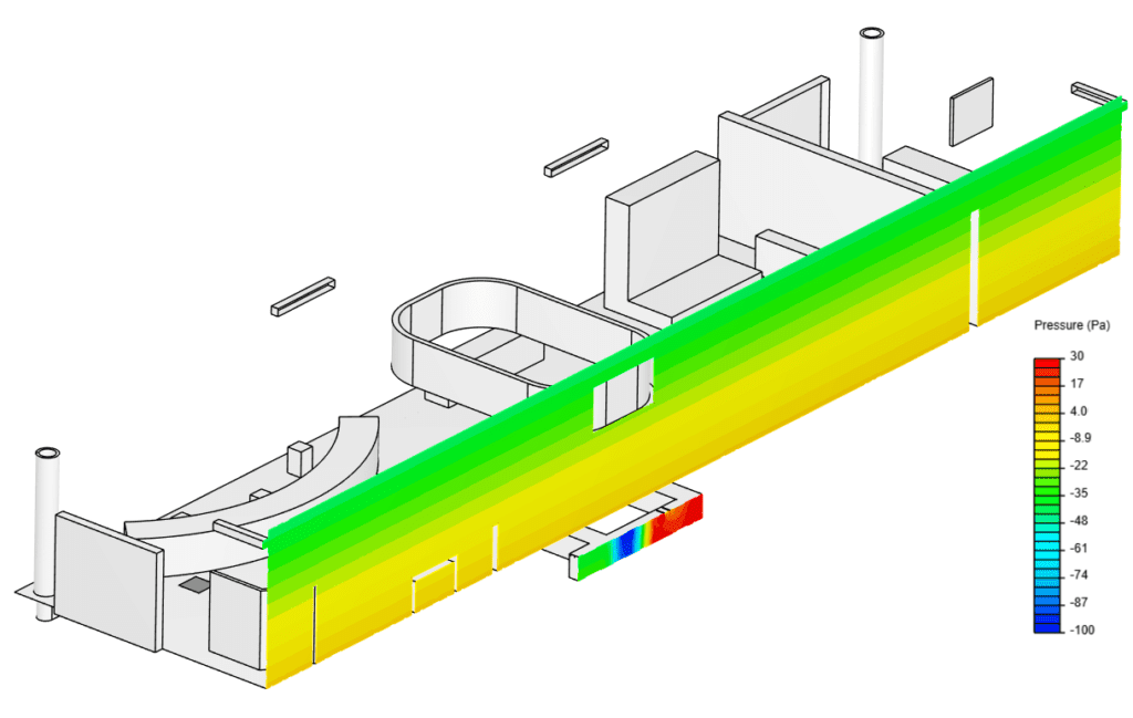 Pressure contour plane across the exhibition hall and the underfloor ducting, investigating the thermal environment
