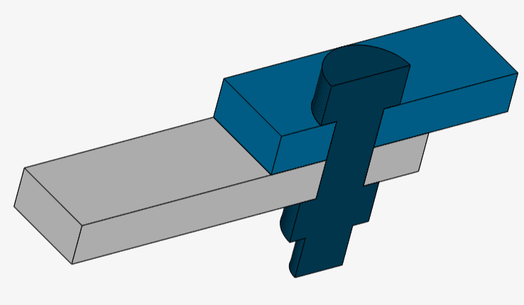 model of a sheet metal connected by a bolt