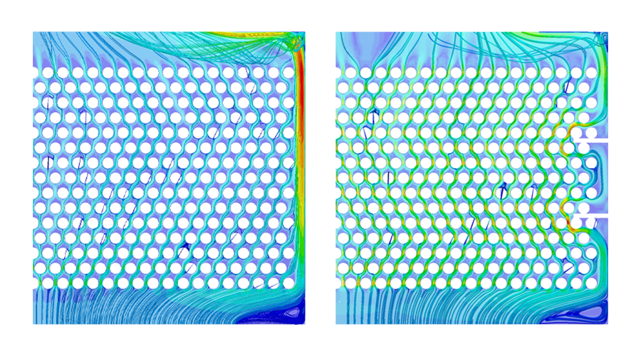 fluid flow simulations in the cloud comparing two different design versions of a device by AVEREM