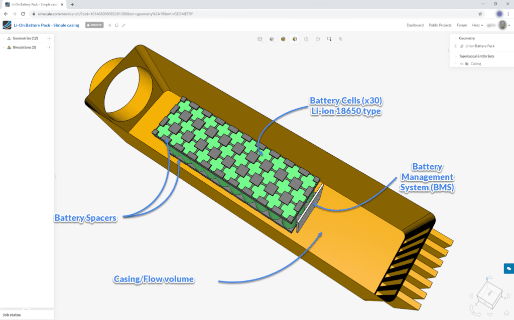 cad model for electronics cooling application for a battery cooling design