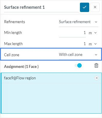 surface refinement included with cell zone selected to solve cell zone error