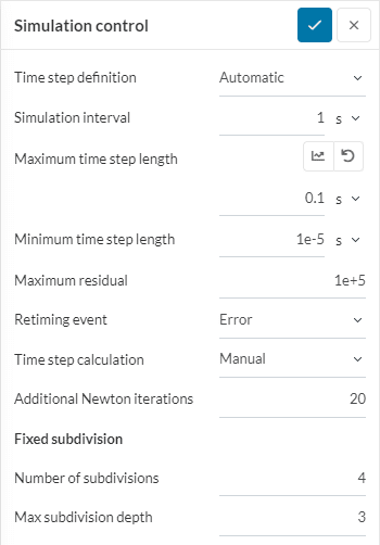 automatic time stepping definitions to control the simulation