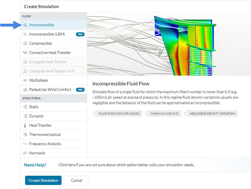 selecting incompressible analysis type from workbench in simscale