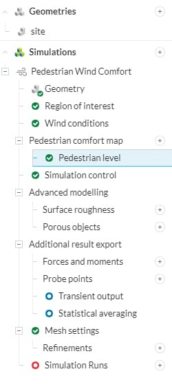 pwc analysis checklist using simulation tree in simscale