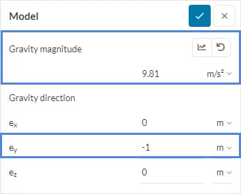 the gravity magnitude settings in simscale platform