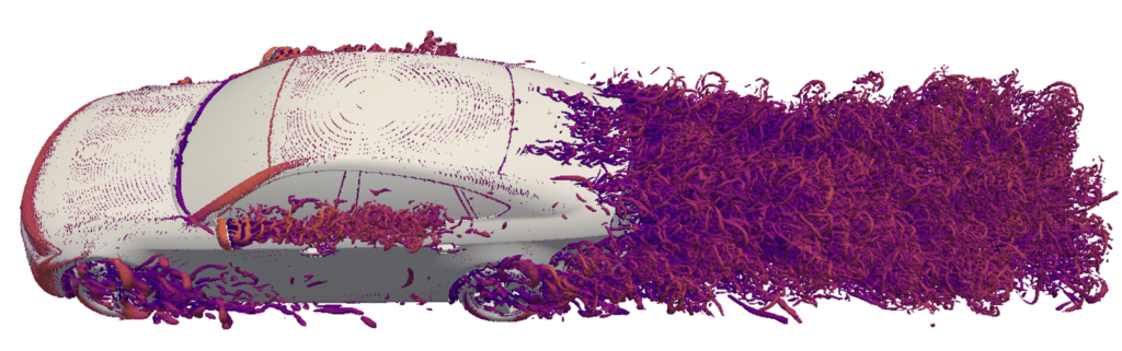 visualization of the q-criterion around the fastback car model shown within simscale