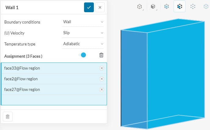 assigning a slip wall condition to the virtual wind tunnel