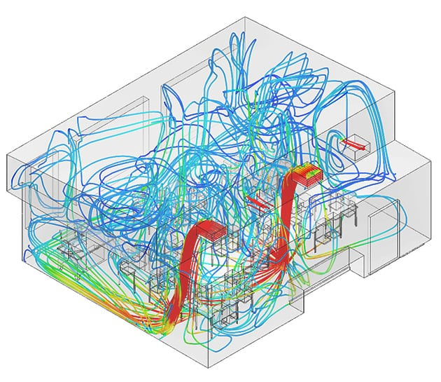 classroom airflow circulation post-processing results from simscale
