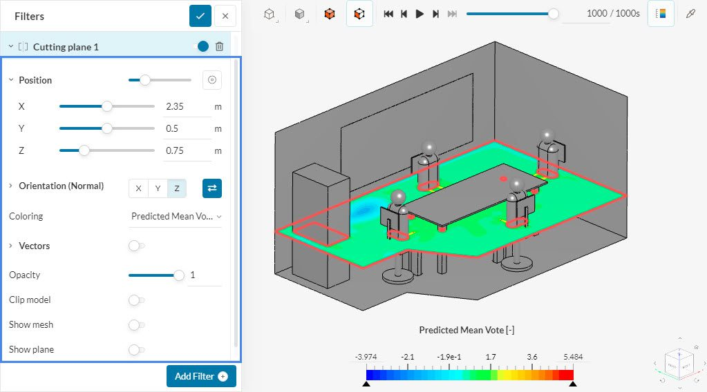 cutting plane settings for hvac in meeting room