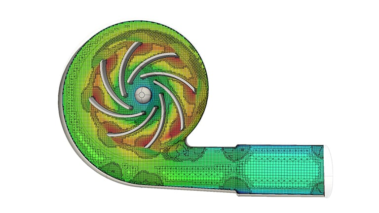 CFD analysis of a centrifugal pump carried out with SimScale