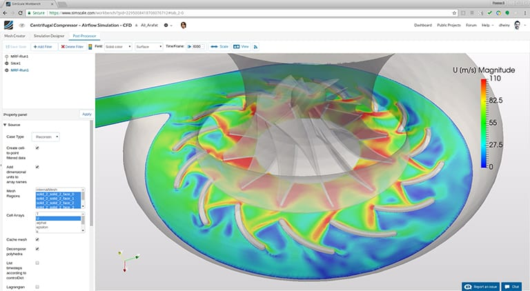Airflow analysis of a compressor with SimScale (turbulent and compressible flow), fluid mechanics