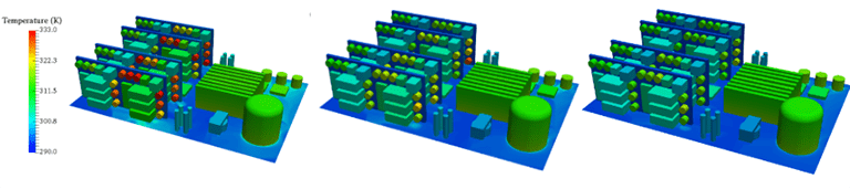 electronics cooling simulation, temperature contours at different fresh air inlet flow rates