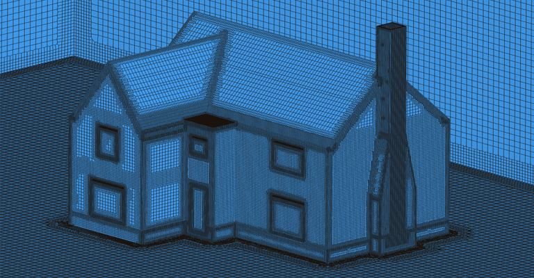 meshed enclosure of cottage for simulation