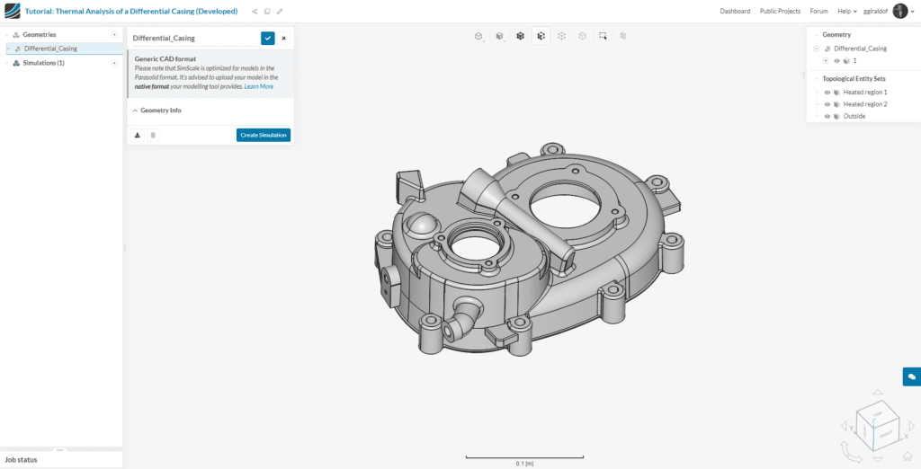 CAD model differential casing thermal simulation