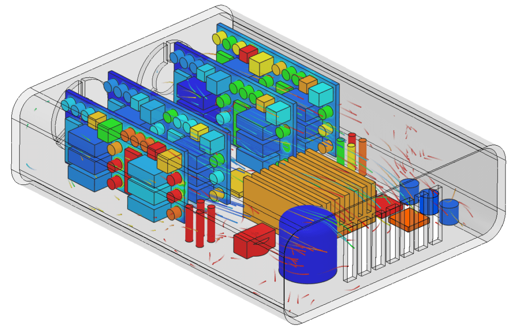components within an electronics box thermal management simulation results