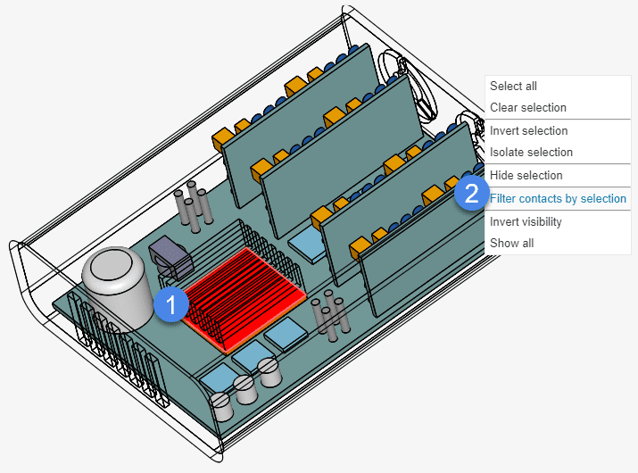 heat sink and large chips area in between simscale